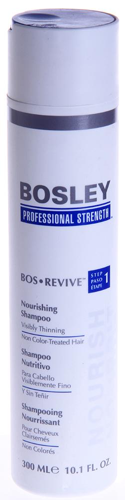 BOSLEY Шампунь питательный для истонченных неокрашенных волос / ВОS REVIVE (step 1) 300млШампуни<br>Нежный, не содержащий сульфаты питательный шампунь, который помогает создать здоровую среду для волос и кожи головы. Действие: Восстанавливает волосы и омолаживает кожу головы благодаря Комплексу LifeXtend&amp;trade;. Очищает и выводит токсины, такие как ДГТ ( основной причиной истончения и выпадения волос ) с кожи головы и заметно истонченных волос. Активные ингредиенты: LifeXtend&amp;trade; Комплекс. Экстракт Карликовой Пальмы. Аминокислоты Сои. Способ применения: Применять ежедневно. Нанести на влажные волосы, вспенить мягкими массирующими движениями, оставить на одну минуту и смыть.<br><br>Вид средства для волос: Питательный<br>Типы волос: Тонкие<br>Назначение: Выпадение