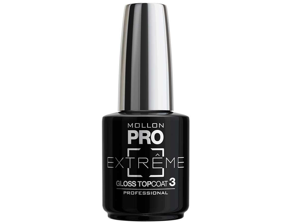 MOLLON PRO Покрытие для ногтей верхнее / Extreme Gloss Top Coat 3 10млВерхние покрытия<br>Mollon PRO EXTREME 3 STEPS VERNIS   это инновационная, трехфазная система для стилизации ногтей. Благодаря формуле, обогащенной полимерами, продукты высыхают при естественном освещении, что позволяет сохранить эффект супер блеска на ногтях до 10 дней. Продукты наносятся как классический лак для ногтей, смываются жидкостью для снятия лака с ацетоном без компресса. EXTREME GLOSS TOP COAT 3 - современные и передовые технологии закрепителя ускоряют время сушки, увеличивает прочность и придает черезвычайный блеск Способ нанесения: - Сделайте маникюр и обезжирьте ногтевую пластину. - Нанесите базу Mollon PRO Extreme Base Smooth Coat -1, дайте просохнуть 1 минуту. - Нанесите два слоя цветного лака Mollon PRO Extreme -2, интервал между слоями 2 минуты. - Покройте сверху закрепителем Mollon PRO Extreme Gloss Top Coat -3. - Оставьте на 10 минут для высыхания. Для снятия покрытия используйте жидкость для снятия лака.<br><br>Класс косметики: Профессиональная<br>Виды лака: Глянцевые