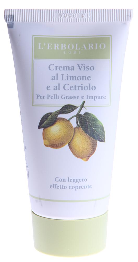 LERBOLARIO Крем для лица с лимоном и огурцом для жирной загрязненной кожи 50 млКремы<br>Крем с лимоном и огурцом с легким эффектом крем-пудры от L`Erbolario - это дневной уход для жирной и загрязнённой кожи. Благодаря эффекту крем-пудры, который можно усилить на критических участках кожи за счет нанесения крема более толстым слоем, угри и комедоны становятся практически невидимыми, а их повторное возникновение - все менее и менее вероятным, так как крем препятствует дальнейшему образованию угревой сыпи. Также он восстанавливает водно-жировой баланс кожи, которая обретает однородный цвет, гладкость и свежесть. Средство обладает нежной консистенцией, легко впитывается и является отличной основой под макияж. Крем имеет легкий универсальный тон, который подходит практически к любому естественному тону кожи.  Активные ингредиенты: Экстракт лимона, Экстракт огурца, Комплекс серосодержащих аминокислот, Витамин Е, Водный дистиллят розмарина.  Способ применения: Ежедневно наносить небольшое количество средства на предварительно очищенную кожу лица легкими массирующими движениями. На самые проблемные участки можно нанести, не массируя, большее количество крема.<br><br>Возраст применения: После 25<br>Типы кожи: Жирная