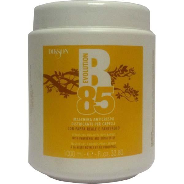 DIKSON Маска восстанавливающая c пчелиным маточным молочком и пантенолом / B-85 MASCHERA ANTICRESPO 1000млМаски<br>Восстанавливающая маска с пчелиным маточным молочком и пантенолом. Супер активная формула маски обогащена уникальными природными компонентами: пчелиное маточное молочко, D-пантенол и провитамин В 5. Уникальный продукт пчеловодства   маточное молочко оказывает мощное восстанавливающее и укрепляющее действие на волосы. D- Пантенол и провитамин B5 способствуют избавлению от секущихся кончиков, предотвращают капиллярную хрупкость волоса, разглаживают и придают идеальный блеск. Маска идеально подходит для сильно поврежденных волос, при регулярном использовании волосы становятся более гладкими, блестящими и легко расчесываются. Активные ингредиенты: вода, пантенол, лимонная кислота , пчелиное маточное молочко ,провитамин B5. Способ применения: нанести маску на влажные волосы, выдержать на волосах 1-15 мин , затем смыть водой.<br><br>Объем: 1000 мл<br>Назначение: Секущиеся кончики