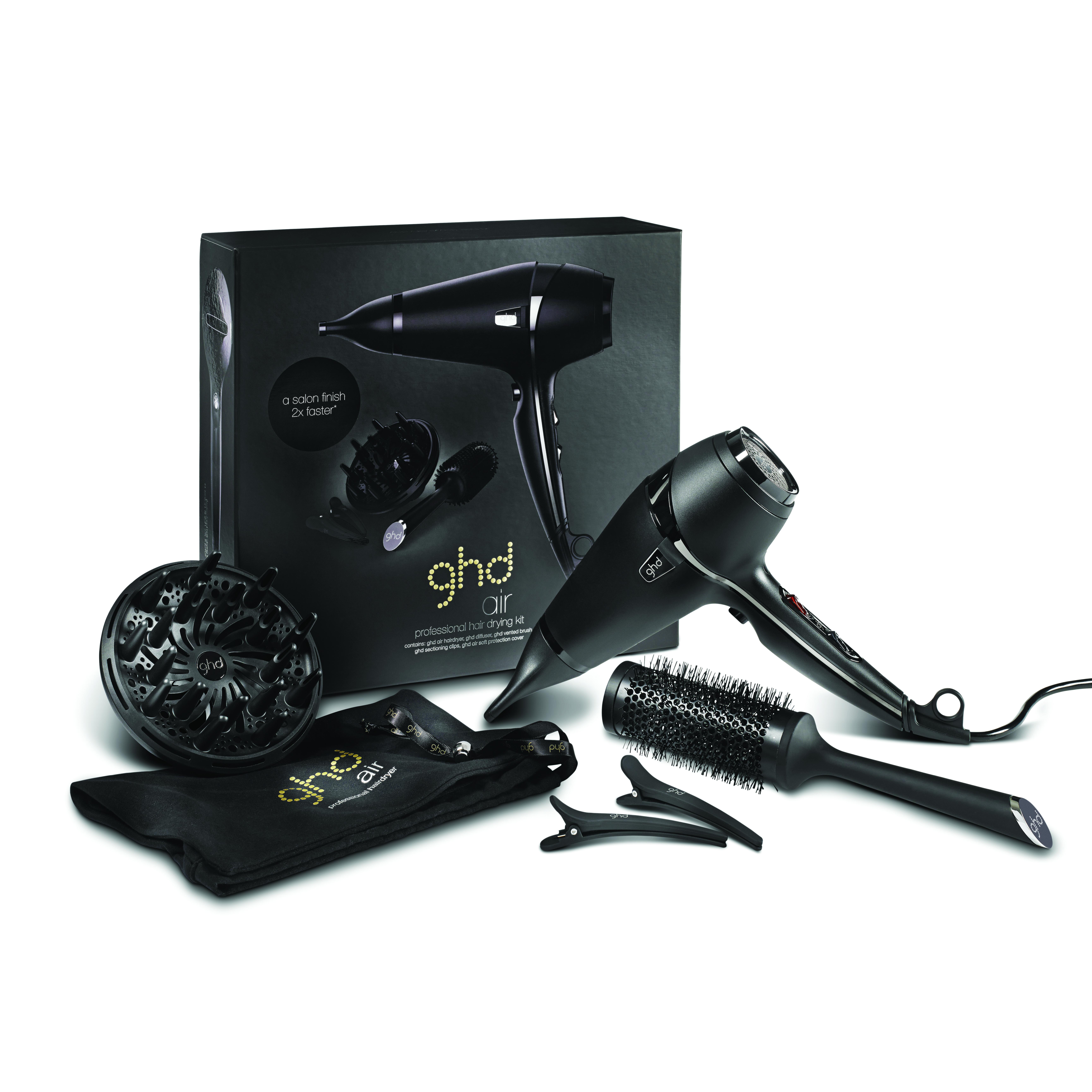 Фен для сушки и укладки волос GHD Air Hairdryer 2100 W в наборе (фен с соплом + насадка диффузор, керамическая круглая щетка, 2 зажима, мягкая сумка)