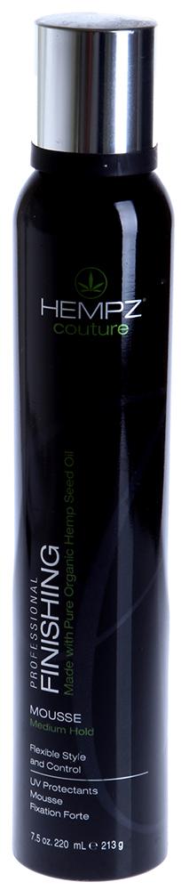 HEMPZ Мусс средней фиксации для укладки / Finishing Mousse Medium Hold 220млМуссы<br>Мусс на основе масла и экстракта семян конопли для моделирования прически, чёткости формы и блеска волос. Средняя степень фиксации для моделирования прически, придает чёткость формы и блеск волосам, не утяжеляя прическу. Масло и экстракт семян конопли питают и защищают волосы, придавая дополнительный объем и блеск. UV защита препятствует выгоранию цвета окрашенных и натуральных волос. Защищает волосы от повреждений при использовании фена или щипцов. АРОМАТ: Иланг-Иланг, Ваниль и Травы. Активные ингредиенты: Масло и экстракт семян конопли, протеины и аминокислоты конопли, конопляная смола, пантенол, диметикон. Способ применения: Хорошо встряхнуть перед использованием. Перевернуть флакон, так чтобы дозатор был снизу, и выдавить немного средства на ладонь, затем равномерно распределить на чистые, влажные волосы по всей длине и сделать укладку при помощи фена. Для вьющихся волос можно сформировать локоны руками и дать им высохнуть самостоятельно. Для получения наилучшего результата используйте в комплексе c продуктами Линии по уходу за волосами HEMPZ, смешивайте и комбинируйте с любым продуктом из Линии стайлинга HEMPZ.<br>