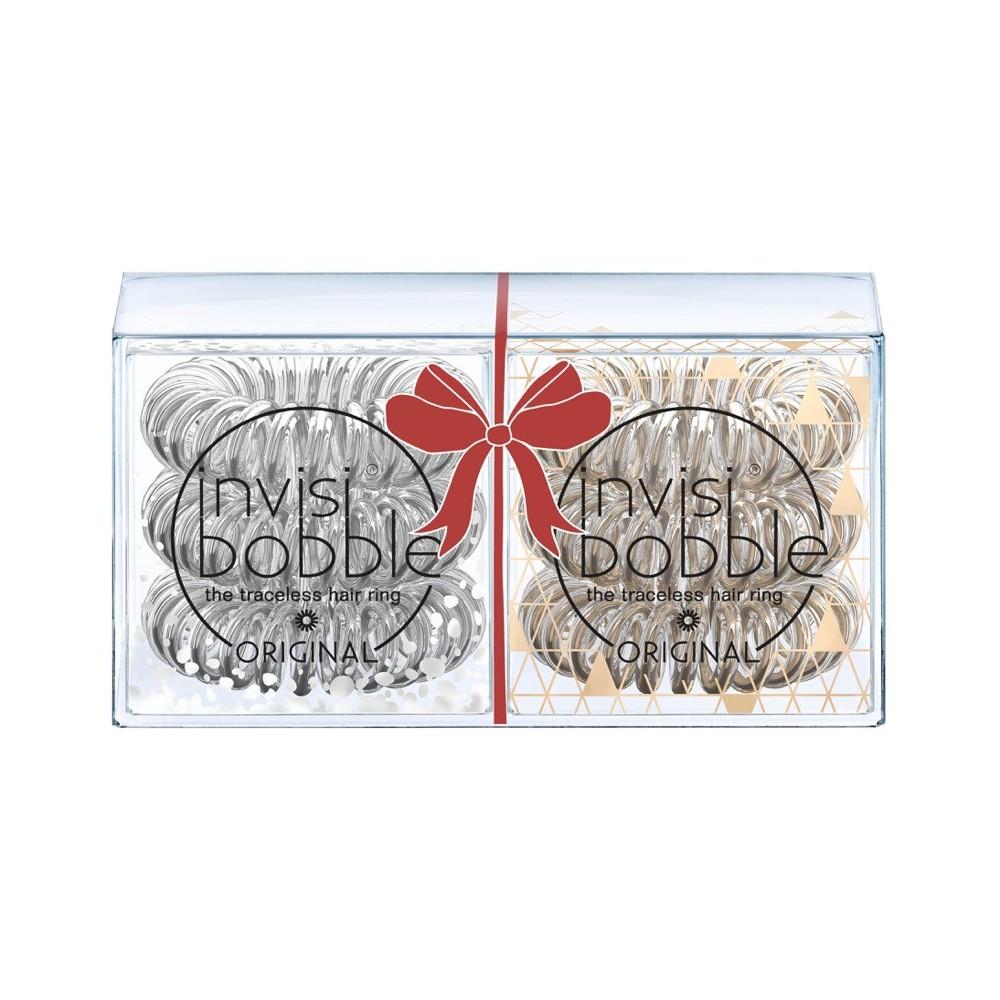 INVISIBOBBLE Набор: Резинка-браслет для волос 2 х 3 шт / Invisibobble Holiday Duo Pack / серебро/бронза