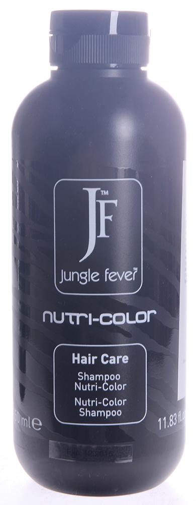 JUNGLE FEVER Шампунь для окрашенных волос / Nutri-Color Shampoo HAIR CARE 350млШампуни<br>Идеален для окрашенных и мелированных волос. Помогает сохранить насыщенный цвет волос и препятствует потускнению цвета. Входящие в состав шампуня протеины шелка способствуют регенерации поврежденных волос, увлажнению и образованию защитной пленки, масло оливы питает, защищает и восстанавливает волосы. После применения шампуня волосы выглядят мягкими, шелковистыми и сияющими. Активные ингредиенты: протеины шелка и масло оливы. Способ применения: нанести на кожу головы и влажные волосы, массировать до образования пены, затем тщательно смыть теплой водой. При необходимости повторить. Далее, для достижения максимального результата, использовать маску для окрашенных волос.<br>