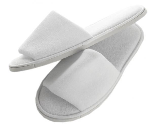 IGRObeauty Тапочки махровые, открытые, нескользящие Оптима, размер 36-39, цвет белый 1 пара