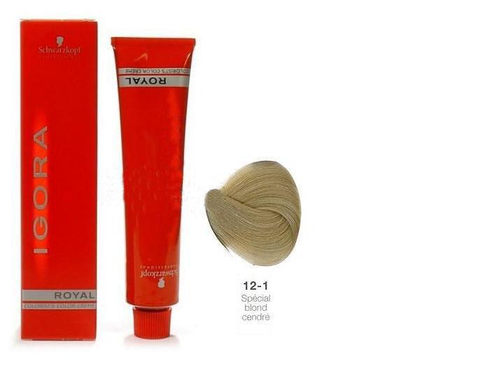 SCHWARZKOPF PROFESSIONAL 12-1 краска для волос / Игора Роял 60млКраски<br>IGORA Royal Colorist`s Color Creme - уникальный комплекс, состоящий из высокоэффективных микрочастиц, которые легко проникают внутрь волоса и отлично закрепляются по принципу магнита, формируя окончательный цветовой пигмент во время процесса окисления. Результат - отличное покрытие седины и интенсивный насыщенный цвет на длительное время. Ухаживающие протеины масла дерева Moringa Oleifera, содержащиеся в крем краске, укрепляют структуру волоса, защищают волосы от загрязнений окружающей среды и UV-излучения. Свежий косметический аромат, роскошная палитра нюансов, а также легкость в применении - все это позволяет достигать результатов самого высокого уровня.<br><br>Цвет: Блонд<br>Объем: 60<br>Класс косметики: Косметическая