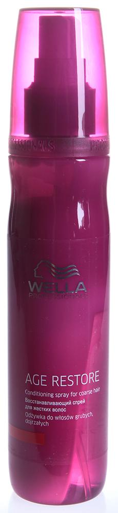 WELLA Спрей восстанавливающий для жестких волос / AGE 150млСпреи<br>Восстанавливающий спрей возвращает эластичность жестким зрелым волосам. Он придаст волосам необыкновенную мягкость и послушность. Оригинальная двухфазовая формула антивозрастного спрея содержит восстанавливающий комплекс, который защищает поверхность волоса, делает его мягким и гладким. Регенерационная технология возвращает Вашим волосам молодость и предотвращает разрушающее воздействие окружающей среды на волосы. Активный состав: Содержит масло карите, компоненты УФ-фильтра, пантенол, витамин Е. Способ применения: Хорошо взболтать и распылить на влажные волосы (10&amp;ndash;15 нажатий). Тщательно расчесать. Не смывать.<br><br>Объем: 150<br>Вид средства для волос: Восстанавливающий<br>Типы волос: Поврежденные