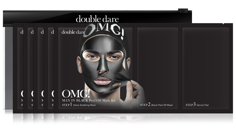 DOUBLE DARE OMG! Комплекс мужских масок трехкомпонентный Смягчение и восстановление / Man in Black 5 шт