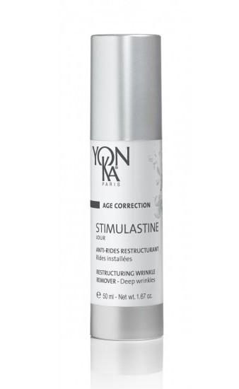 YON KA Крем Stimulastine Jour / AGE CORRECTION 50млКремы<br>Приятный, шелковистый крем, который быстро впитывается, борющийся с разрушением волокон эластина и сохраняющий эластичность кожи. Уменьшает морщинки и отлично разглаживает кожу. Восстанавливает здоровый цвет лица. Активные ингредиенты: полисахариды овса (для разглаживания, лифтинга); экстракт босвелии (для борьбы с морщинками); антиэластаза;масло из ростков злаков, карите (для восстановления, защиты); масло виноградных косточек, растительный глицерин, пептиды сои (для увлажнения, восстановления); витамины E, C, A, коэнзим Q10 ( для антиоксидантного действия, восстановления). Возрастная категория: от 40 лет. Способ применения: после очищения кожи и распыления Lotion PS/PNG Yon-KA наносите на лицо и шею Stimulastine Jour - утром и Stimulastine Nuit - вечером.<br>