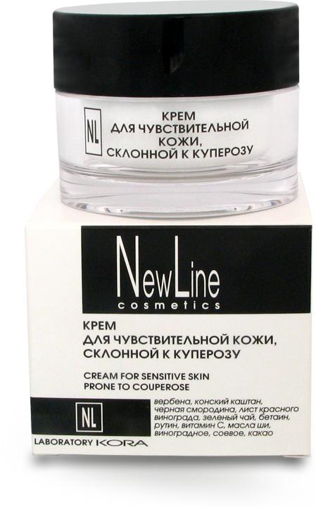 NEW LINE PROFESSIONAL Крем для чувствительной кожи склонной к куперозу 50млКремы<br>Действие: крем предназначен для ухода за чувствительной кожей, склонной к куперозу, повышения ее устойчивости к внешним раздражителям. Регулярное применение крема эффективно выравнивает цвет и рельеф кожи, дарит ощущение комфорта и свежести. Рекомендуется для ухода за кожей, склонной к куперозу и покраснениям, вызванным различными внешними факторами. РАСТИТЕЛЬНЫЕ ЭКСТРАКТЫ, содержащие природный комплекс биофлавоноидов, в сочетании с ВИТАМИНОМ С и РУТИНОМ оказывают направленное действие против купероза и раздражения кожи, существенно уменьшают интенсивность покраснения и чувствительность кожи, обладают капилляроукрепляющим и антиоксидантным свойствами, нейтрализуя разрушительное действие свободных радикалов. ПЕПТИДЫ ВЕРБЕНЫ, БЕТАИН усиливают защитные функции кожи, повышают уровень ее увлажненности, способствуют выравниванию микрорельефа кожи и уменьшению глубины морщин. РАСТИТЕЛЬНЫЕ МАСЛА увлажняют, питают, смягчают кожу, уменьшают шелушение и ощущение стянутости, защищают кожу от УФ-лучей, замедляют процесс увядания. Активные ингредиенты: вербена, конский каштан, черная смородина, лист красного винограда, зеленый чай, бетаин, рутин, витамин С, масла ши, виноградное, соевое, какао. Способ применения: не имеет возрастных ограничений. Небольшое количество крема нанести на чистую, увлажненную тоником кожу лица и шеи утром и/или вечером (не менее чем за 40 мин до сна). Легкими похлопывающими движениями пальцев добиться полного впитывания крема. Идеальное средство под макияж. Противопоказания: индивидуальная непереносимость компонентов.<br><br>Типы кожи: Чувствительная