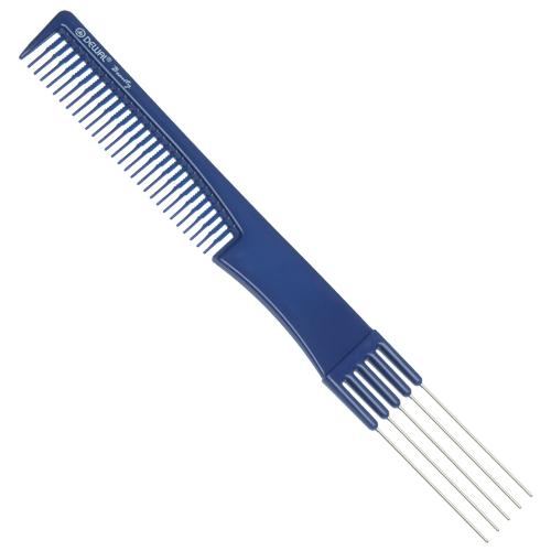 DEWAL BEAUTY Расческа для начеса, с металлическими зубцами, синяя 19 см