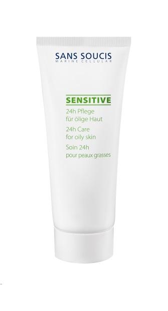 SANS SOUCIS Крем для чувствительной жирной кожи 24ч / Sensitive 24h Care oily skin 40млКремы<br>Крем с нежным цветочным ароматом с алоэ вера и экстрактом водорослей предотвращает воспалительные процессы. Не содержит масел, оказывает матирующее, смягчающее и регенерирующее действие. Рекомендовано: для жирной и комбинированной, чувствительной, кожи. Результат: матовая кожа без воспалений. Активные ингредиенты: пентилен гликоль, с12-15 алкил бензоат, альфа- глюкан олигосахарид, пантенол, экстракт кодиум, сок алоэ , бисаболол, аммо-ния глицирризат, экстракт лепестков розы, натрия гиалуронат, бутилен гликоль, аргинин, ксантановая камедь Способ применения: утром и/или вечером нанести на предварительно очищенную кожу.<br><br>Объем: 40 мл