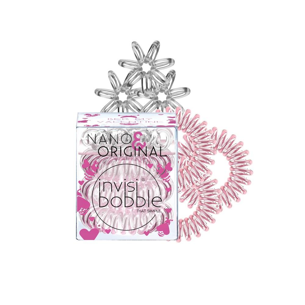 INVISIBOBBLE Набор: Резинка-браслет для волос 2 х 3 шт (3 ORIGINAL + 3 NANO) / Invisibobble NANOORIGINAL Bee Mine / розовое золото/прозрачный