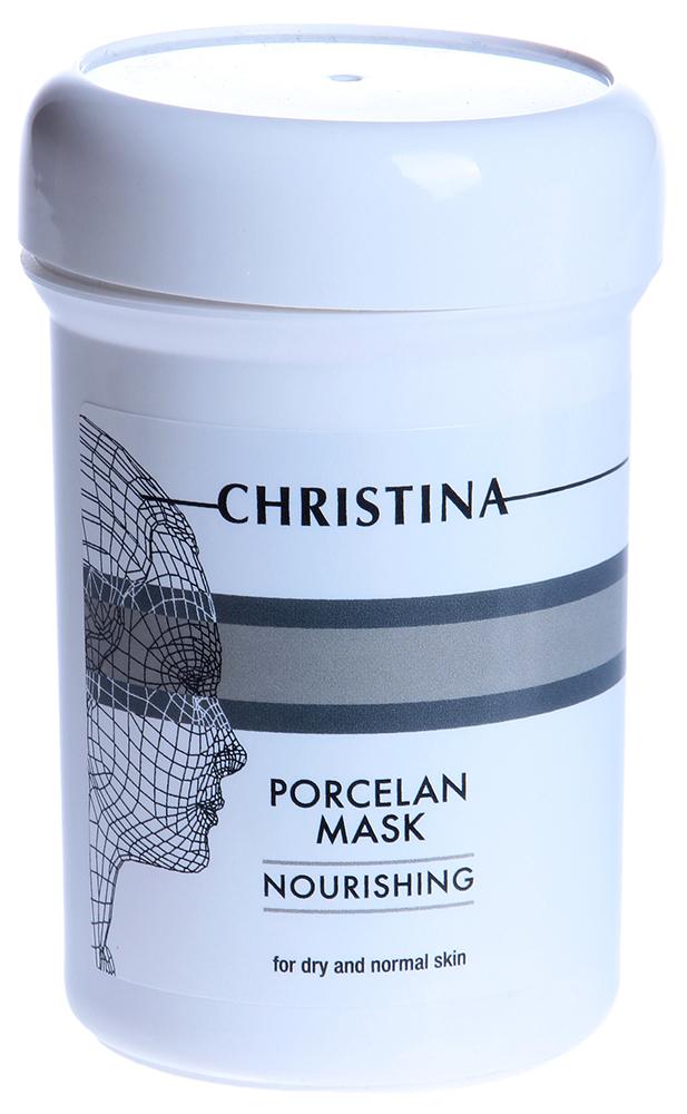 CHRISTINA Маска питательная для сухой и нормальной кожи Порцелан / Nourishing Porcelan Mask 250млМаски<br>Действие: Маска приятной кремообразной консистенции с высоким содержанием биологически активных компонентов, легко усваиваемых кожей (масла календулы, мимозы, розы, оливковое). Активизирует клеточные процессы, нормализует обмен веществ, улучшает циркуляцию крови в дерме, регулирует проницаемость тканей, разглаживает мелкие морщинки и повышает эластичность кожи. Маска обладает выраженным омолаживающим и восстанавливающим эффектами, придает коже упругость и гладкость, сравнимую с фарфором. Состав: Деионизированная вода, диоксид титана, изопропил пальмитат, каолин, глицерин, глицерил стеарат, цетиловый спирт, минеральное масло, триглицериды каприловой/каприковой кислот, пропилен гликоль, оливковое масло, сквален, Peg-40 стеарат, сорбитан стеарат, имидазолидин мочевина, оксид цинка, метилпарабен, пропилпарабен, масло календулы, масло мимозы, масло шиповника, 2-бромо-2-нитропропан-1,3 диол. Применение: Применять 1-2 раза в неделю: маска наносится на очищенное лицо и смывается через 10-15 минут теплой водой.<br><br>Объем: 250