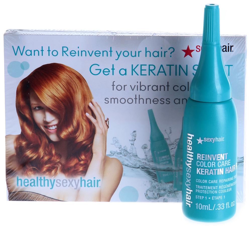 SEXY HAIR Флюид оздоравливающий кератиновый / HEALTHY 1*10млАмпулы<br>Американский бренд профессиональной косметики по уходу за волосами SEXY HAIR представляет новый продукт линии Healthy Sexy Hair Reinvent   Оздоравливающий кератиновый флюид Sexy Hair Reinvent Keratin Hair Filler. Этот продукт предназначен для салонного применения. Кератиновый флюид применяется после окрашивания волос, как средство для закрепления пигмента и придания дополнительного блеска, либо как самостоятельная процедура для предотвращения возможных повреждений, и для восстановления волос. Кератиновый флюид закрепляет цвет внутри проникая в кортекс волос и фиксирует цветовые пигменты в структуре кортекса. Защищает цвет снаружи, предотвращая неблагоприятное воздействие ультрафиолетовых лучей. Восстанавливает внутренние повреждения, проникая в кортекс волос и полимеризуя Белки Кератина в структуре волос для укрепления, усиления блеска и контроля над пушистостью. Поврежденные волосы заполняются Кератином изнутри и становятся гладкими снаружи. Предотвращает повреждения извне путем защиты от неблагоприятного воздействия окружающей среде и внешних элементов. Уже после первого применения Ваши волосы   совершенно гладкие, блестящие, восстановленные с более интенсивным и стойким цветом. Максимальное восстановление за минимальное время!<br><br>Объем: 10<br>Класс косметики: Профессиональная