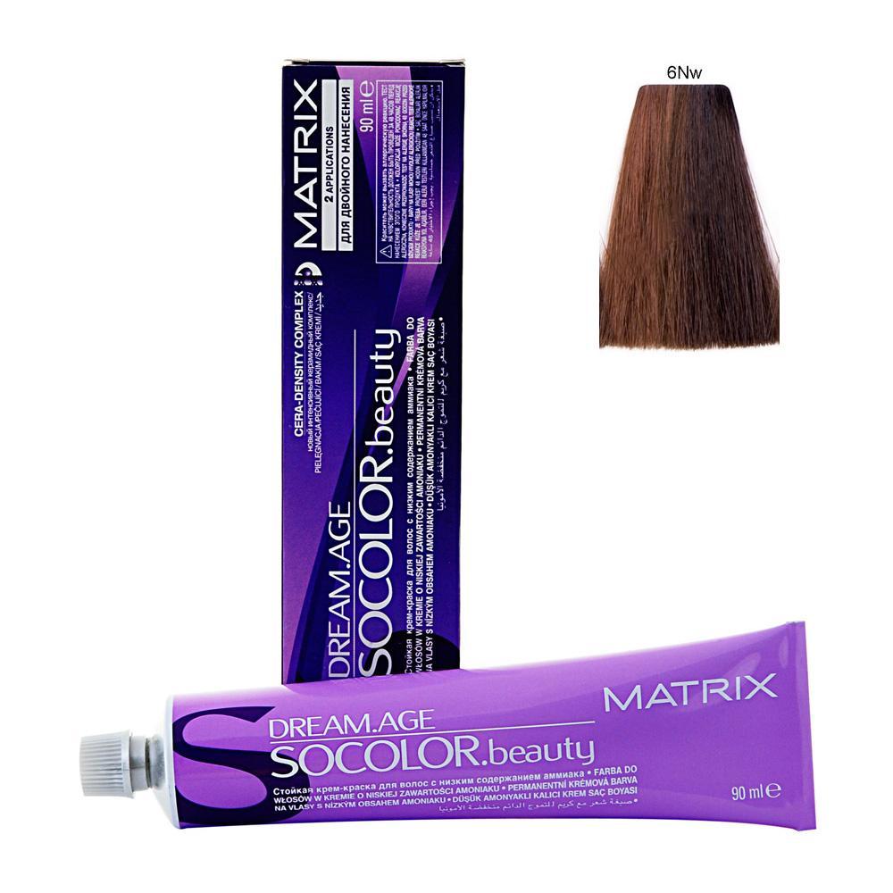 MATRIX 6NW краска для волос / СОКОЛОР БЬЮТИ D-AGE 90млКраски<br>Крем-краска Dream Age специально разработана для проведения окрашивания седых волос. Оттенки для волос с содержанием седины более 50%. Применение запатентованной технологии ColorGrip обеспечивает четкий и яркий оттенок, благодаря самонастраивающимся красителям, которые взаимодействуют с натуральным пигментом волоса. Также в состав краски входит кондиционер Cera-Oil, что обеспечивает бережных уход, укрепляет и питает структуру волос. Крем-краска удобно наносится и обладает приятным фруктовым ароматом. Богатый пигментами краситель: 100% закрашивание седины Мультирефлективный цвет Формула с низким содержанием аммиака Технология Pre-Softenung смягчает резистентный седой волос перед окрашиванием Не нужно смешивать с другими оттенками Используется с 6% Крем-Оксидантом Способ применения: смешайте краску с активатором в нужных пропорциях, после чего нанесите смесь на волосы и оставьте на 20-45 минут. После процедуры тщательно смойте краску теплой водой и высушите волосы полотенцем.<br><br>Цвет: Блонд<br>Объем: 90