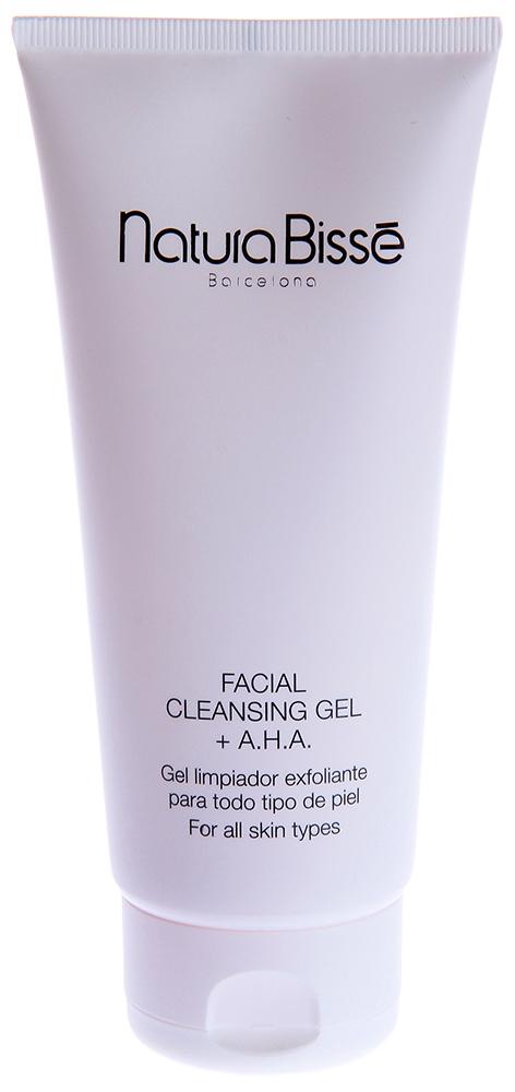 NATURA BISSE Гель очищающий с АНА для лица / Facial Cleansing Gel AHA STABILIZING 200млГели<br>Facial Cleansing Gel AHA   гель с AHA, предназначенный для очищения жирной и комбинированной кожи. Средство эффективно удаляет загрязнения, сокращает выделение кожного сала и борется с бактериями, вызывающими воспаление. Гель не пересушивает кожу, увлажняет и освежает, делая ее мягкой и шелковистой. Активные ингредиенты (состав): Water (Aqua) , Sodium Laureth Sulfate , Aloe Barbadensis Leaf Juice, Cocamidopropyl Betaine , Cocamide DEA , Sodium Chloride , Glycolic Acid , Lactic Acid ,Sodium Hydroxide , Citric Acid , Yeast (Faex) Extract , Allantoin , Malic Acid , Tartaric Acid ,Polysorbate 20 , Styrene/Acrylates Copolymer , Sodium Lauryl Sulfate , Octoxynol-9 Magnesium Chloride , Magnesium Nitrate , Niacinamide , Ammonium Glycyrrhizate , Panthenol , Propylene Glycol , Zinc Gluconate , Caffeine , Biotin , Sodium Citrate , Fragrance (Parfum) ,Limonene , Geraniol , Hydroxycitronellal , Linalool , Citronellol , Methylchloroisothiazolinone , Methylisothiazolinone , Phenoxyethanol , Yellow 5 (CI 19140) , Red 4 (CI 14700). Способ применения: использовать ежедневно для очищения кожи и удаления макияжа. Небольшое количество геля наносить на кожу лица, шеи и декольте, смывать теплой водой с помощью спонжей. Избегать контакта с глазами. После очищения гелем рекомендуется протереть кожу тоником.<br><br>Объем: 200<br>Вид средства для лица: Очищающий