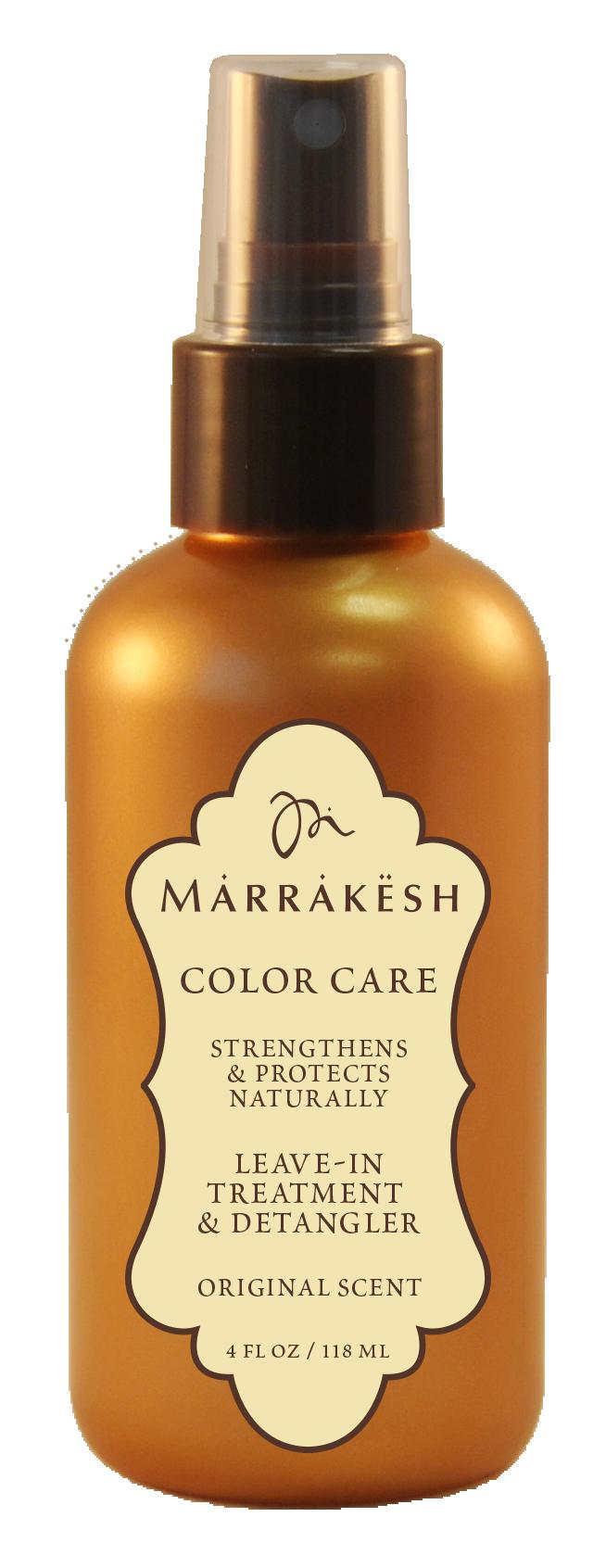MARRAKESH Спрей несмываемый для окрашенных волос / Marrakesh X Leave-in Color Original 118 млКондиционеры<br>Color Care Leave In Treatment &amp;amp; Detangler Несмываемый спрей-кондиционер для окрашенных волос Marrakesh подходит для ежедневного применения на окрашенных и осветленных волосах. Обеспечивает естественную защиту окрашенных волос от УФ лучей и горячей укладки. Облегчает расчесывание и предотвращает повреждение сухих, пористых волос. Способ применения: равномерно распылить на влажные, подсушенные полотенцем волосы. Не смывать. Приступить к укладке.<br><br>Тип: Спрей-кондиционер<br>Объем: 118 мл<br>Вид средства для волос: Несмываемый