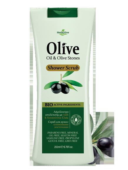 MADIS Гель-скраб для душа с оливковыми косточками / HerbOlive 200мл