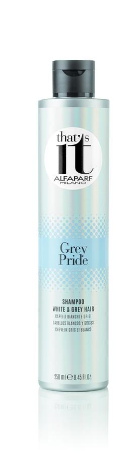 ALFAPARF MILANO Шампунь тонирующий для светлых и седых волос / THATS IT GREY PRIDE SHAMPOO 250млШампуни<br>Тонирующий шампунь устраняет нежелательные теплые оттенки, дарит сияние натуральным и окрашенным, светлым и седым волосам. Жемчужные светоотражающие частицы создают безграничную игру цвета, делают волосы максимально блестящими. Входящий в состав шампуня фитокератин увлажняет и защищает волосы, делая их более сильными, мягкими и шелковистыми. НЕ СОДЕРЖИТ ПАРАБЕНОВ Способ применения: нанести шампунь массирующими движениями на влажные волосы до образования пены. Тщательно смыть. При необходимости повторить процедуру. Подходит для частого использования. ВНИМАНИЕ: Данный продукт может окрасить различные поверхности и одежду. Окрашенные продуктом поверхности и одежду необходимо незамедлительно промыть.<br><br>Вид средства для волос: Тонирующий