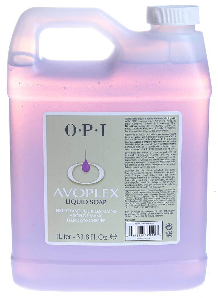 OPI Мыло жидкое Авоплекс / AVOPLEX 1000млМыла<br>Жидкое очищающее средство, обогащенное питательными и увлажняющими компонентами, очищает и смягчает кожу рук, ухаживает за ними и делает более гладкими, благодаря питательному комплексу из масла авокадо, витамина Е и алое.  Способ применения: Используется как для профессионального маникюра, так и в качестве повседневного очищающего средства.<br><br>Объем: 1000