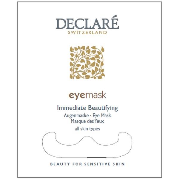 DECLARE Маска для зоны вокруг глаз  Мгновенная красота  / Immediate Beautifying Mask Eye 8млМаски<br>Маска для зоны вокруг глаз с содержанием уникального SRC-комплекс   и экстракта очанки лечебной мгновенно снимает все признаки усталости, разглаживает морщины и дарит ощущение легкости. Уже с первого применения уменьшаются темные круги и мешки под глазами. SRC-Complex  улучшает защитную функцию кожи, снижает степень чувствительности, повышает сопротивляемость негативным факторам окружающей среды. Комплекс BIOPHYTEXTM способствует уменьшению отечности, выравнивает тон кожи, разглаживает микрорельеф, улучшает межклеточный метаболизм, устраняет проявление усталости. Снижает раздражение, шелушение, способствует быстрому заживлению и восстановлению кожи. Гиалуроновая кислота обеспечивает оптимальный уровень увлажненности. Экстракт очанки лечебной обладает выраженным противовоспалительным действием, устраняет раздражение, успокаивает кожу век, способствует устранению отечности. Активные ингредиенты: SRC-Complex , комплекс BIOPHYTEXTM, гиалуроновая кислота, экстракт очанки лечебной. Способ применения: нанесите маску на предварительно очищенную область под глазами, оставьте на 15 минут. Затем удалите маску и легкими похлопывающими движениями распределить остатки средства по коже. Для получения наилучшего результата используйте маску 2-3 раза в неделю.<br><br>Типы кожи: Чувствительная