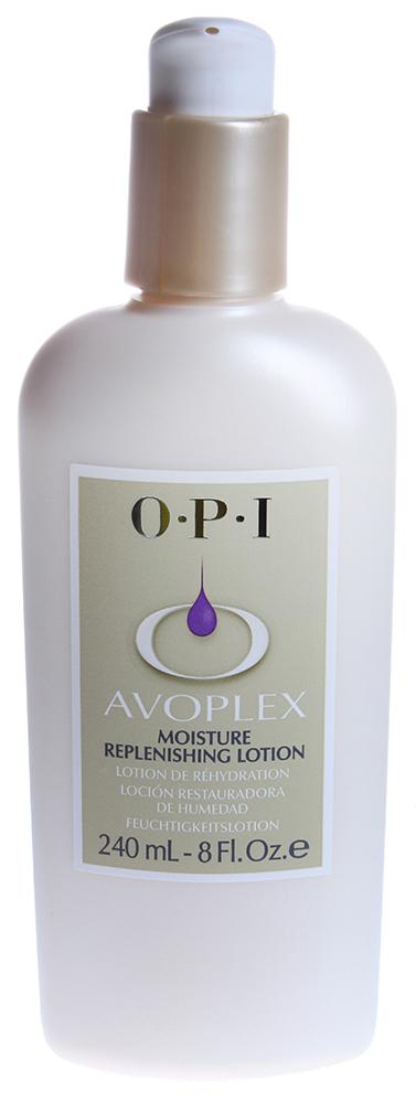 OPI Лосьон для рук и тела / Moisture Replenishing Lotion AVOPLEX 240млЛосьоны<br>Лосьон с увлажняющими компонентами и липидным комплексом авокадо для ухода за кожей рук и тела. Хорошо подходит для тех, кто испытывает раздражение или аллергические реакции на запахи. Содержит пантенол, аллантоин, антиоксиданты, фосфолипиды, витамины A, B1, B2, D и E. Быстро впитывается, поддерживает естественный баланс кожи за счет высокоценного компонента авокадо, который замедляет процесс старения. Блокиратор ультрафиолета (UV) защищает кожу рук и тела в любое время года. Для массажа в стиле СПА, увлажняющий лосьон используется с маслом &amp;laquo;Авоплекс&amp;raquo;. Способ применения: Использовать после процедуры маникюра для смягчения, увлажнения и защиты кожи рук. Лосьон быстро впитывается в кожу, не оставляя жирной пленки.<br><br>Объем: 240<br>Вид средства для тела: Увлажняющий<br>Назначение: Старение