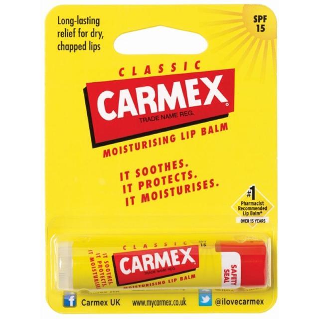 CARMEX Бальзам для губ классический с защитным фактором SPF 15 в стике / Lip Balm Stick 4,25грБальзамы для губ<br>Бальзам для губ с классическим вкусом в футляре из пластика (в форме помады-стика). Активные ингредиенты: вазелин, ланолин, канделильский воск, этилгексилметоксициннамат, бензофенон-3, озокерит, цетиловый эфир, масло какао, пчелиный воск, парафин, камфора, ментол, салициловая кислота, отдушка, ванилин, гидроксицитронеллаль, лимонен, линалоол, гераниол, цитронеллол. Способ применения: применяется в косметических целях для увлажнения и питания губ.<br><br>Типы кожи: Для всех типов
