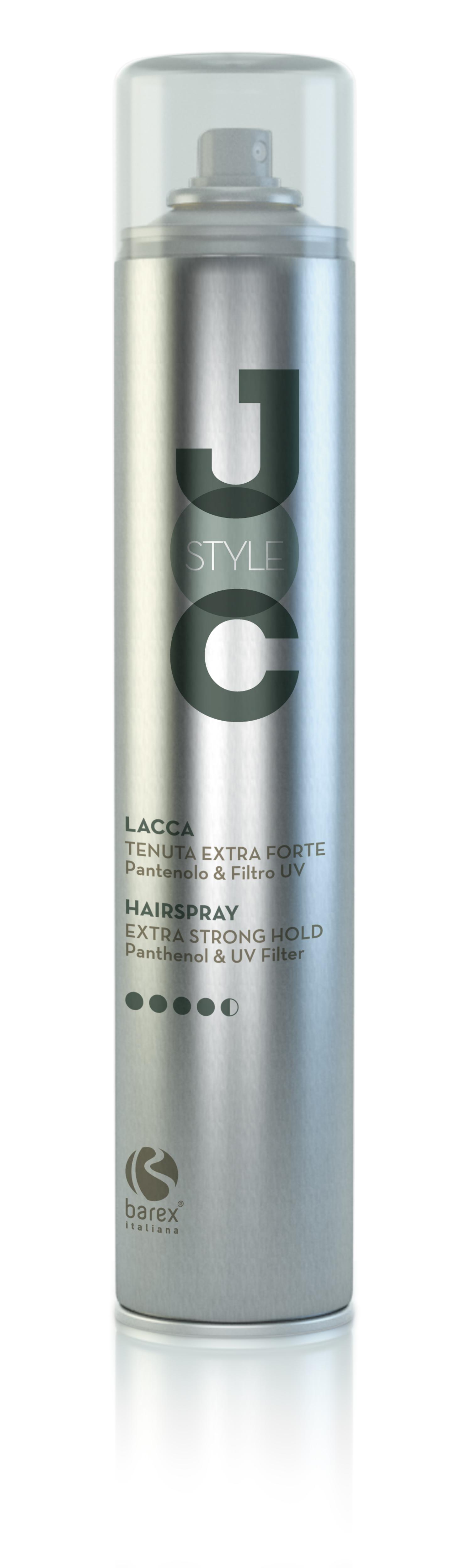 BAREX Лак сильной фиксации с UV-фильтром и D-пантенолом / JOC STYLE 500млЛаки<br>Позволяет фиксировать укладки на длительное время, придавая причёске желаемую форму и объём. Не склеивает волосы. Пантенол: увлажняет волосы и защищает их от действия атмосферной влаги. Активные ингредиенты: пантенол. Способ применения: для традиционной укладки, распылите на сухие или влажные волосы с расстояния 30 см; для увеличения объёма приподнимите прядь волос и распылите средство на корни с расстояния 15 см.<br><br>Объем: 500