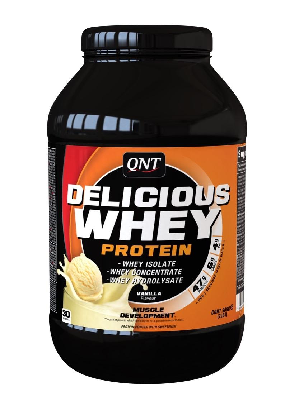 QNT Добавка биологически активная к пище Делишес вей протеин, ваниль / Delicious Whey Protein Powder Vanilla 908 г  - Купить
