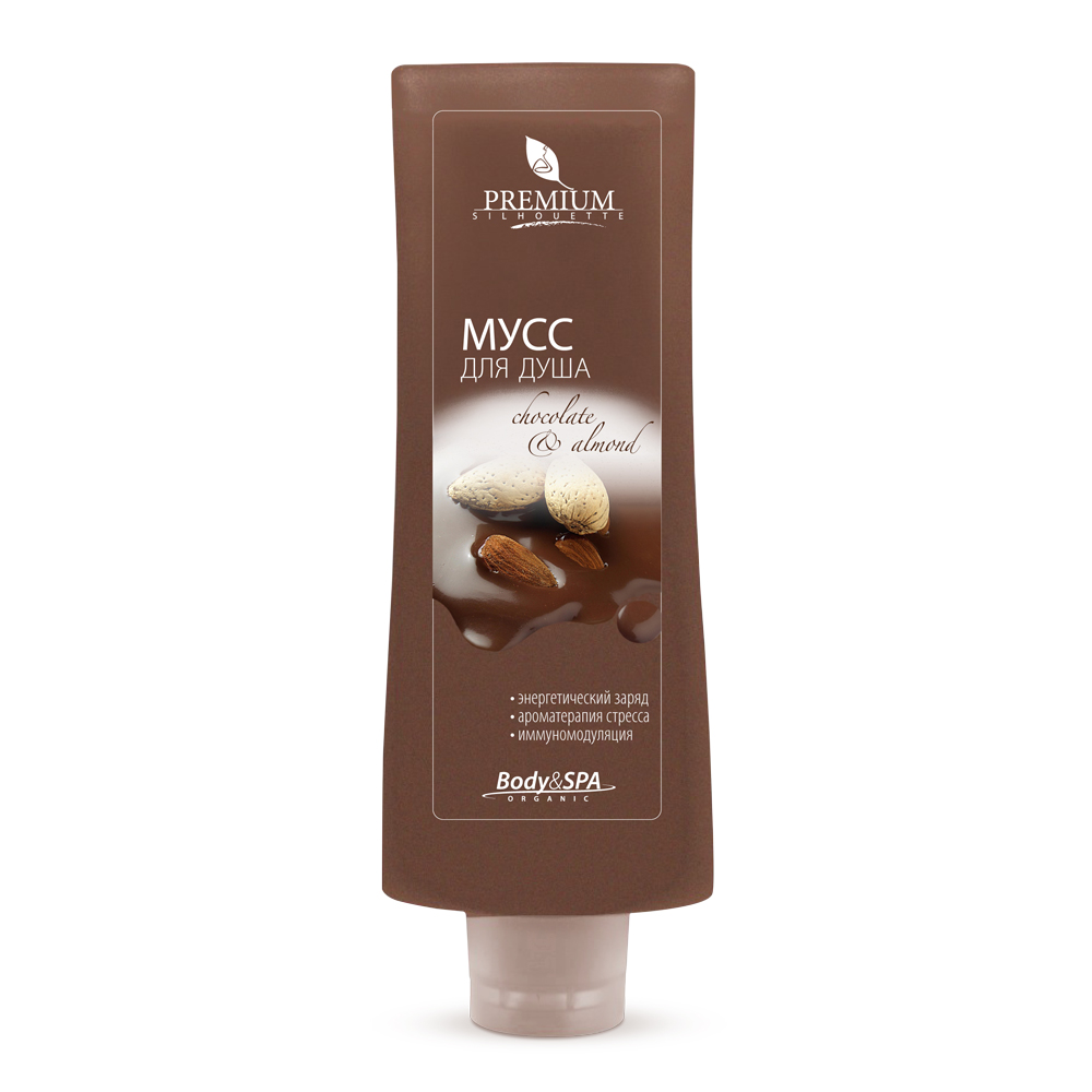 PREMIUM Мусс для душа Chokolate &amp; Almond / Silhouette 200млМуссы<br>Гель - мусс с шоколадом и миндалем превращает очищение в изысканную аромацеремонию. Комплекс фосфолипидов, экстрактов плюща и бамбука восстанавливает минеральный баланс и метаболизм кожи. Какао-порошок оказывает мягкое абразивное действие, активизирует регенерацию тканей, дает коже мощный энергетический заряд. Активные ингредиенты: шунгитовая вода, рапа, какао, ванилин, экстракты: плюща, бамбука; пантенол, кватернизированный комплекс фосфолипидов.<br><br>Объем: 200