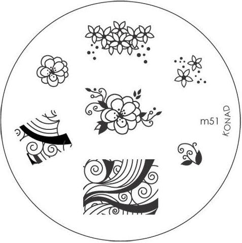 KONAD Форма печатная (диск с рисунками) / image plate M51 10грСтемпинг<br>Диск для стемпинга Конад М51 с великолепными узорами, цветами и бабочками. Несколько видов изображений, с помощью которых вы сможете создать великолепные рисунки на ногтях, которые очень сложно создать вручную. Активные ингредиенты: сталь. Способ применения: нанесите специальный лак&amp;nbsp;на рисунок, снимите излишки скрайпером, перенесите рисунок сначала на штампик, а затем на ноготь и Ваш дизайн готов! Не переставайте удивлять себя и близких красотой и оригинальностью своего маникюра!<br>
