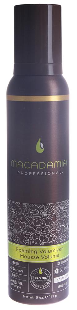 MACADAMIA PROFESSIONAL Мусс для объема / Foaming Volumizer 180млМуссы<br>Воздушный мусс, который добавляет слабым безжизненным волосам массу и объем, не утяжеляя их и не оставляя налета или эффекта склеивания. Облегчает расчесывание, контролирует пушистость, делает волосы гладкими, мягкими, блестящими и упругими. С термозащитным действием. Сохраняет цвет окрашенных волос, не содержит агрессивных компонентов. Активные ингредиенты: масла макадамии, арганы. Способ применения: хорошо встряхните, выдавите на ладонь достаточное количество мусса (размером с яйцо) и распределите по влажным волосам от корней до кончиков. Уложите волосы желаемым способом.<br>
