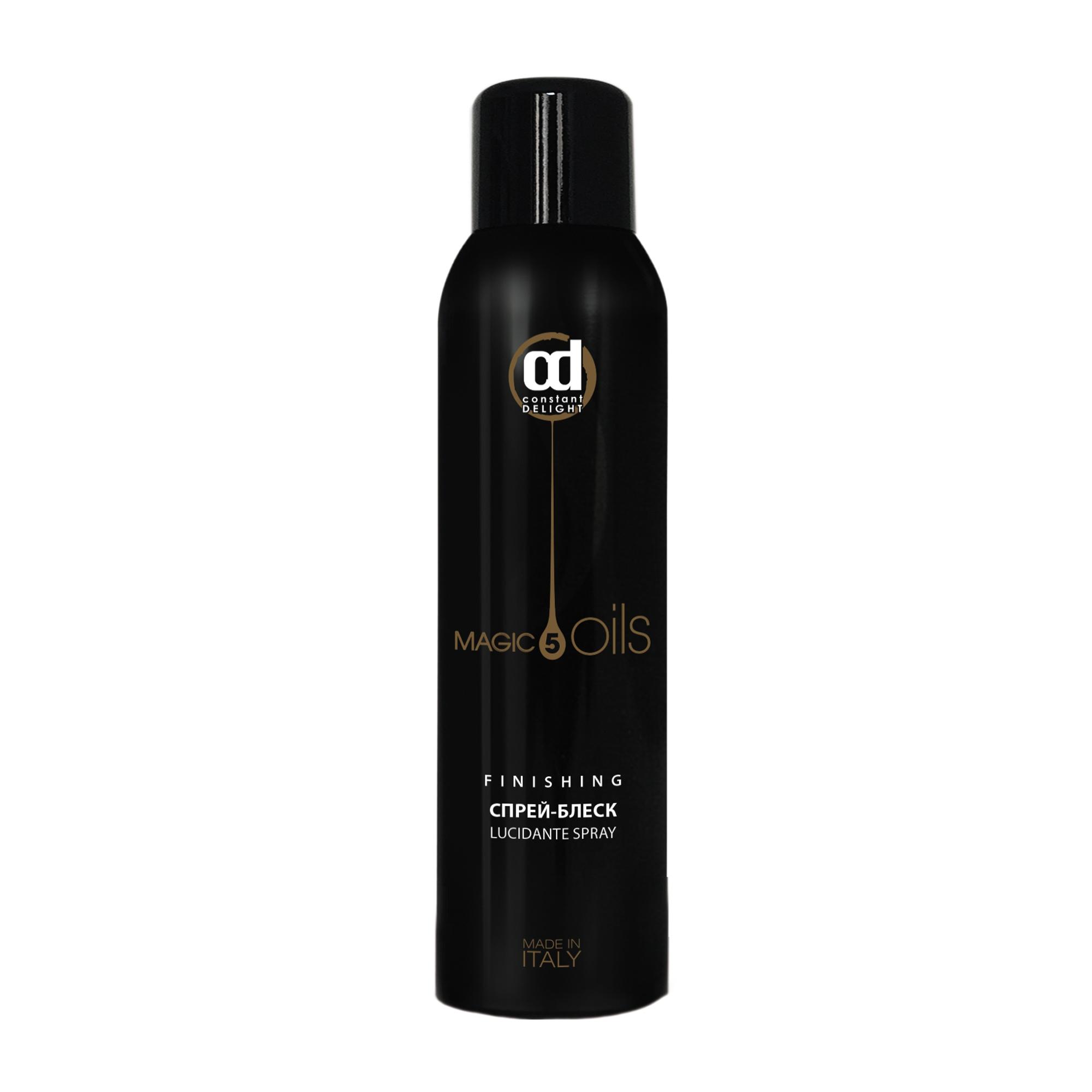 CONSTANT DELIGHT Спрей-блеск без газа / 5 Magic Oil 250 млСпреи<br>Финишный продукт, позволяющий виртуозно сделать завершающий штрих в создании образа. Его формула, состоящая из  5 Магических Масел : Макадамии, Хлопка, Жожоба, Авокадо, Арганы, питает волосы и возвращает им жизненную силу и энергию. Придаёт волосам мгновенный блеск и сияние, сохраняя при этом волосы лёгкими и защищёнными. Активные ингредиенты: масла Макадами, Хлопка, Жожоба, Авокадо и Арганы. Способ применения: распылить с расстояния 30 см после использования лака для волос.<br><br>Тип: Спрей-блеск<br>Типы волос: Для всех типов