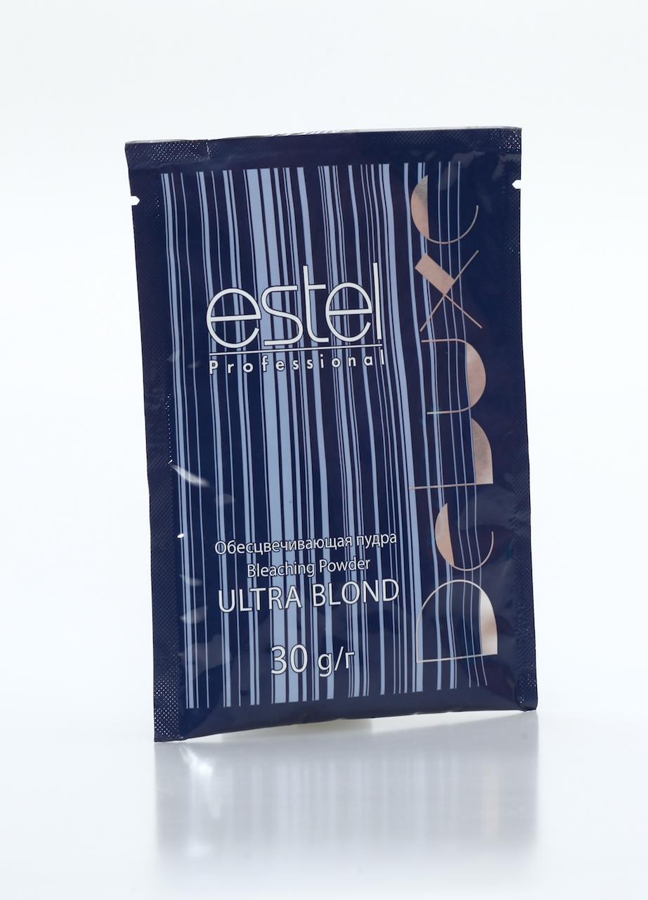 ESTEL PROFESSIONAL Обесцвечивающая пудра / Deluxe Ultra Blond 30гПудры<br>Микрогранулированная пудра применяется для обесцвечивания волос (до 7 тонов), декапирования и мелирования. Подходит для любых типов волос и всех технологий блондирования. Гарантирует надежный результат. Обладает приятным запахом, не образует пыли. Бисаболол, входящий в состав пудры, оказывает антисептическое и противовоспалительное действие. Содержит кондиционирующие добавки. Активные ингредиенты: бисаболол, кондиционирующие добавки. Способ применения: работает с 3%, 6% и 9% оксигентами DE LUXE. Возможно применение пудры в смеси с 12% оксигентом на волосах азиатского типа. В этом случае необходимо исключить контакт обесцвечивающей смеси с кожей головы.<br><br>Цвет: Корректоры и другие<br>Объем: 30г