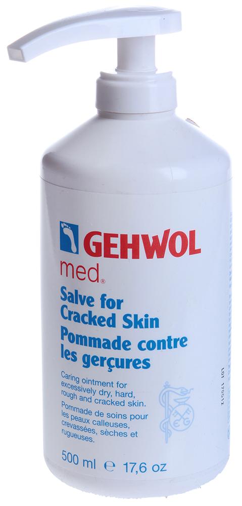 GEHWOL Мазь от трещин (флакон с дозатором) 500млМази<br>Мазь решает проблему жёсткой, растрескавшейся, сухой и грубой кожи, заживляет трещины и раны. Она содержит натуральные эфирные масла, пантенол, бисаболол и в качестве основы &amp;mdash; рицинолеат калия (специальное мыло) и питательные жиры. Регулярное использование мази обновит кожу и вернёт ей натуральную эластичность, защитит растрескавшуюся кожу от инфицирования, облегчит её болезненное состояние. Может использоваться для рук как средство, заживляющее трещины.  Используется при решении проблем: Как основное средство Трещины, заживление ран Диабетическая стопа   Как дополнительное средство Грубая кожа, натоптыши Проблемы кожи рук Способ применения: Ежедневно тщательно массировать кожу 1 или 2 раза в день. Для оказания быстрой помощи рекомендуется применять после теплой ванны фирмы &amp;laquo;Геволь&amp;raquo; со смягчающим эффектом.   Дозатор для флакона 450мл приобретается отдельно.<br><br>Объем: 450
