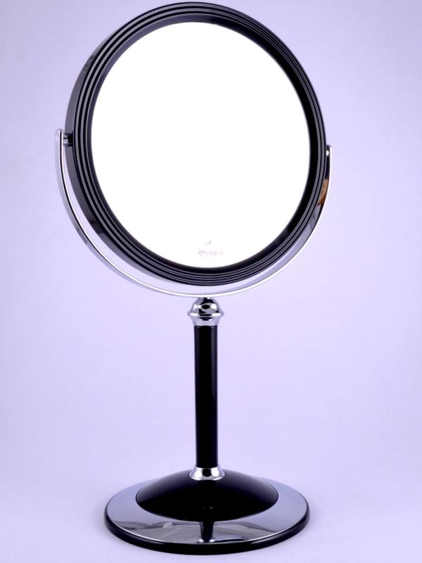 "WEISEN Зеркало настольное круглое 2х стороннее 18 см / B7""8011 BLK/C Black"
