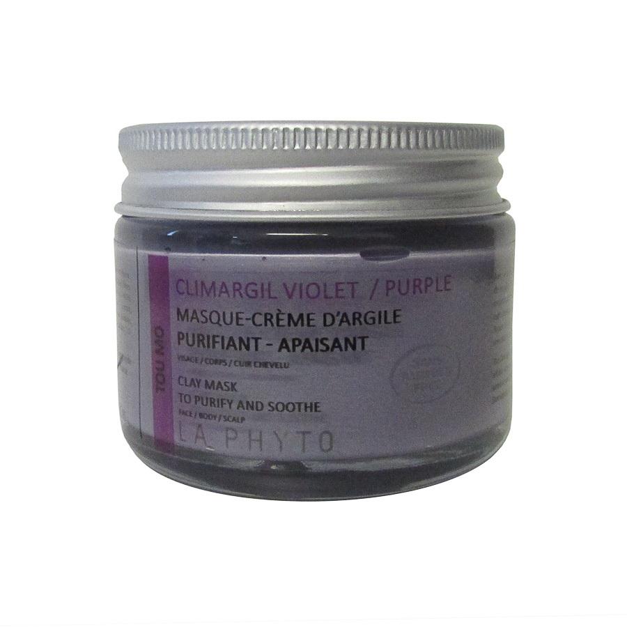 LA PHYTO Глина для лица, тела и волос Фиолетовая / Tou-mo Violet CLIMARGIL 50 грГлины<br>Глина для лица и тела Фиолетовая - антистресс, успокаивающая, снимает раздражение. Помогает осуществлять все жизненные функции (регенерация, (восстановление), ассимиляция (усвоение), очищение (выведение)) организма и поддерживает нервную систему. Активные ингредиенты: глина, эфирные масла сосны, лаванды, розмарина, майорана, лимона, апельсина и экстракты черной смородины, конского каштана, гамамелиса, огуречника и артишока. Способ применения: нанести глину на все тело и/или лицо, рефлекторные зоны, энергетические меридианы согласно протокола процедуры. Время воздействия   около 15 минут. Смыть. В домашних условиях можно использовать в качестве масок и обертываний, а также для умывания (нанести на лицо и шею мягкими круговыми движениями, смыть теплой водой).<br><br>Типы кожи: Для всех типов<br>Типы волос: Для всех типов