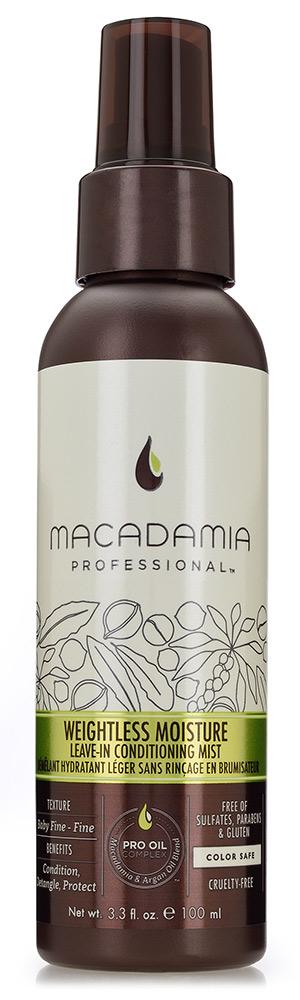 MACADAMIA PROFESSIONAL Спрей-кондиционер несмываемый / Weightless Moisture Leave-in conditioning mist 100млКондиционеры<br>Уникальное средство, ультралегкая формула которого не утяжеляет даже самые тонкие волосы. Кондиционер-спрей Macadamia Professional с эксклюзивным комплексом PRO OIL COMPLEX облегчает расчесывание, помогает предотвратить повреждения, защищает цвет окрашенных волос. Гидролизированный кератин и шелковые аминокислоты глубоко проникают в структуру волос, увлажняют, питают и восстанавливают их. ПРЕИМУЩЕСТВА: Смягчение, облегчение расчесывания, защита Невесомое увлажнение и укрепление Предотвращение повреждений Сохранение цвета окрашенных волос Без сульфатов, парабенов и глютена Активные ингредиенты: Масло макадамии   Омега 7, 5 и 3 жирные кислоты обеспечивают увлажнение Масло арганы   Омега 9 жирные кислоты восстанавливают и укрепляют Коллаген, аминокислоты шелка и киноа   обеспечивают эластичность Состав: гидрофлюорокарбон 152А, Изододекан, Циклопентасилоксан, Масло макадамии, Аргановое масло, Масло грецкого ореха , Масло Авокадо, Масло маракуйи, Масло жожоба, Масло виноградных косточек, Масло Оливы, Экстракт Бамбука, Экстракт семян подсолнечника, Фосфолипиды, Вода, Пропилен Гликоль, Супероксид Дисмутас, Фенил Триметикон, Бензил Салицилат, отдушка, Бутилфенил Метилпропионал, Линалоол, Лимонен, Альфа-Изометин Ионон, Способ применения: равномерно распылите кондиционер-спрей по полотну волос, избегая прикорневой зоны. Можно применять как на влажные, так и на сухие волосы.<br><br>Тип: спрей-кондиционер<br>Объем: 100 мл<br>Вид средства для волос: Несмываемый