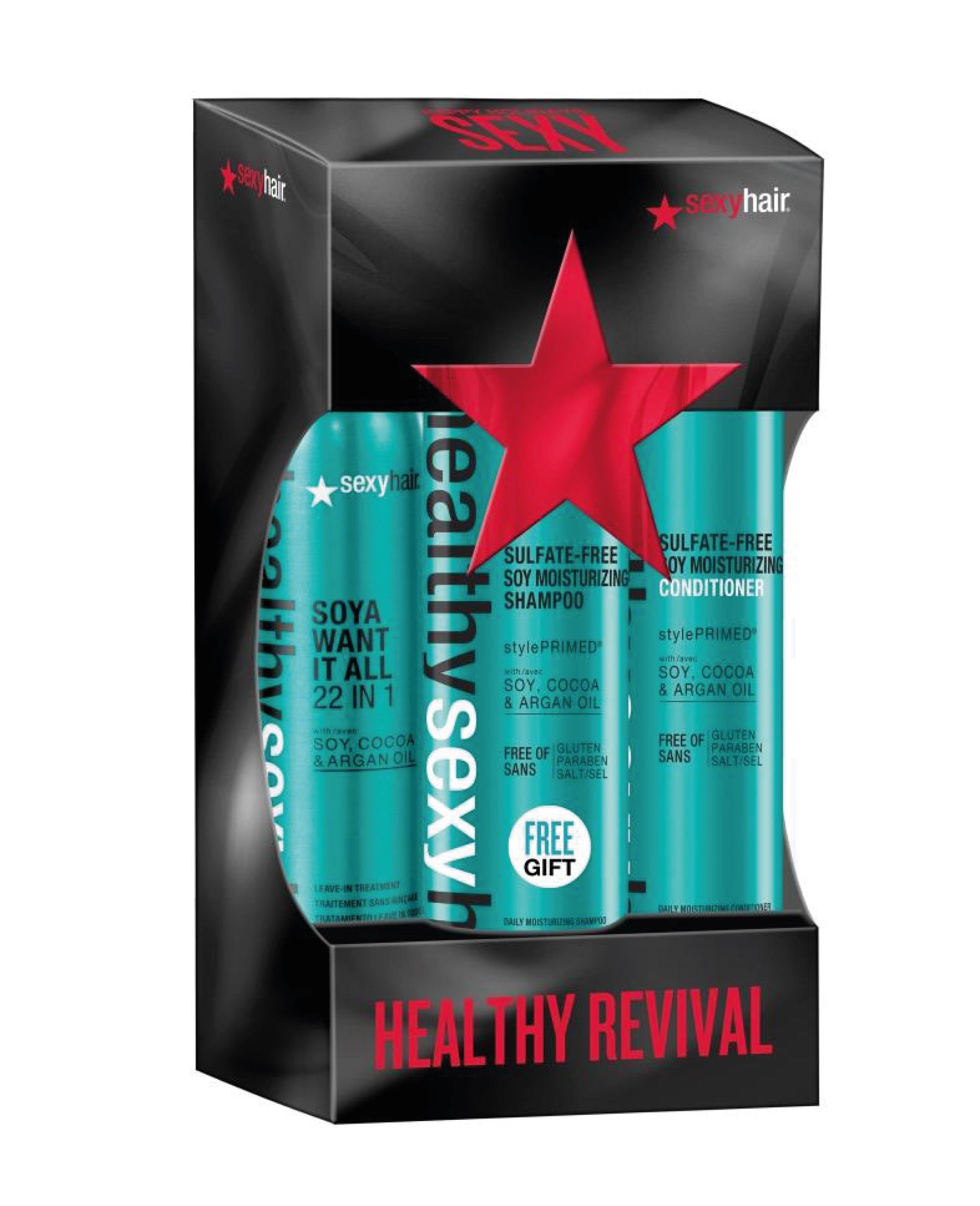 SEXY HAIR Набор Спрей-уход 22 в 1, кондиционер и шампунь на соевом молоке для обычных и окрашенных волос (ЗД45 + ЗД13 + ЗД6) / HEALTHY