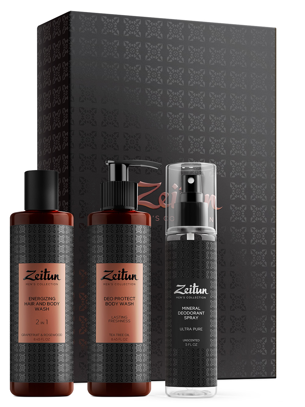 ZEITUN Набор подарочный для мужчин Чистота на все 100% (фито-шампунь 250 мл, гель для душа 200, дезодорант 150 мл)