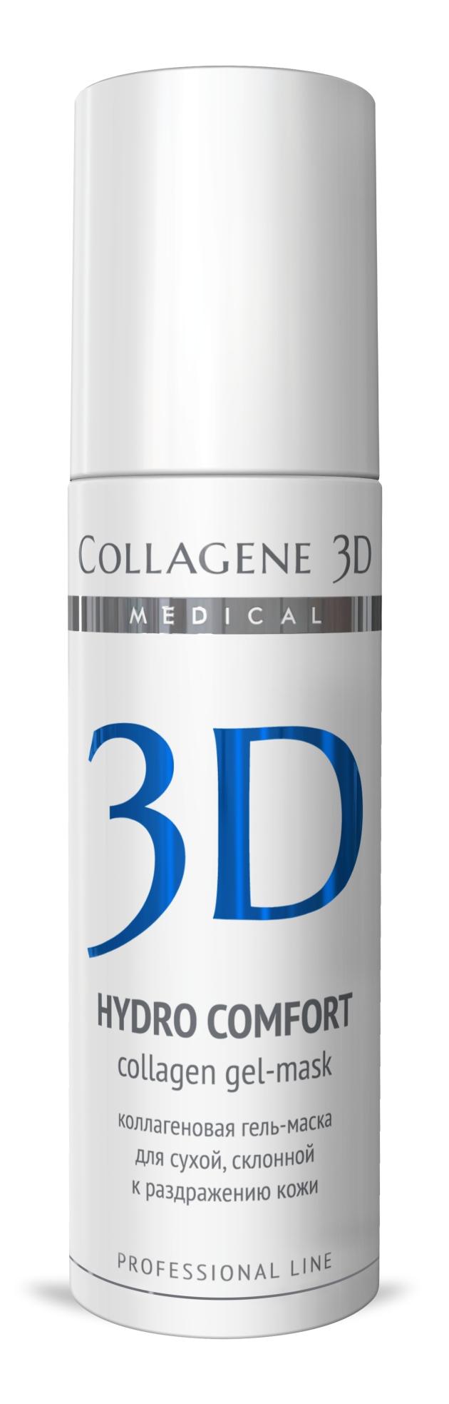 MEDICAL COLLAGENE 3D Гель-маска коллагеновая с аллантоином Hydro Comfort 130мл проф.Маски<br>Гель-маска подходит для проведения самостоятельной процедуры, а также сочетается с аппаратными методиками, может применяться в качестве концентрата под альгинатную маску или обертывания. Аллантоин, входящий в состав гель-маски, оказывает заживляющее, противовоспалительное, смягчающее и увлажняющее действие, снижает болевые ощущения. Нативный трехспиральный коллаген служит источником структурных компонентов дермы, стимулирует процессы обновления кожи. Активные ингредиенты: нативный трехспиральный коллаген, аллантоин. Способ применения: косметическая маска: очистить кожу косметическим молочком MILKY FRESH и тонизировать фитотоником NATURAL FRESH. Сделать пилинг, если потребуется. Нанести гель-маску на кожу тонким слоем. Сразу после того, как гель впитается, увлажнить кожу водой и поверх первого слоя нанести второй слой гель-маски. Время экспликации 5-15 минут (в зависимости от степени влажности помещения и особенностей кожи клиента, гель-маска может впитываться очень быстро). Если после полного поглощения кожей гель-маски останется чувство стянутости, следует удалить остатки микрослоя гель-маски при помощи фитотоника NATURAL FRESH. Нанести средство ухода за кожей век и крем MEDICAL COLLAGENE 3D по выбору косметолога.<br><br>Объем: 130