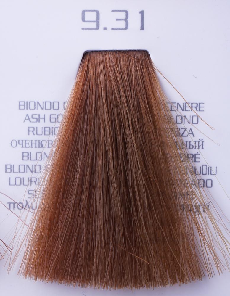 HAIR COMPANY 9.31 краска для волос / HAIR LIGHT CREMA COLORANTE 100млКраски<br>9.31 экстра светло-русый золотисто-пепельныйHair Light Crema Colorante   профессиональный перманентный краситель для волос, содержащий в своем составе натуральные ингредиенты и в особенности эксклюзивный мультивитаминный восстанавливающий комплекс. Минимальное количество аммиака позволяет максимально бережно относится к структуре волоса во время окрашивания. Содержит в себе растительные экстракты вытяжку из арахиса, лецитин, витамин А и Е, а так же витамин С который является природным консервантом цвета. Применение исключительно активных ингредиентов и пигментов высокого качества гарантируют получение однородного, насыщенного, интенсивного и искрящегося оттенка. Великолепно дает возможность на 100% закрасить даже стекловидную седину. Наличие 6-ти микстонов, а так же нейтрального бесцветного микстона, позволяет достигать получения цветов и оттенков. Способ применения: смешать Hair Light Crema Colorante с Hair Light Emulsione Ossidante в пропорции 1:1,5. Время воздействия 30-45 мин.<br><br>Вид средства для волос: Восстанавливающий<br>Класс косметики: Профессиональная