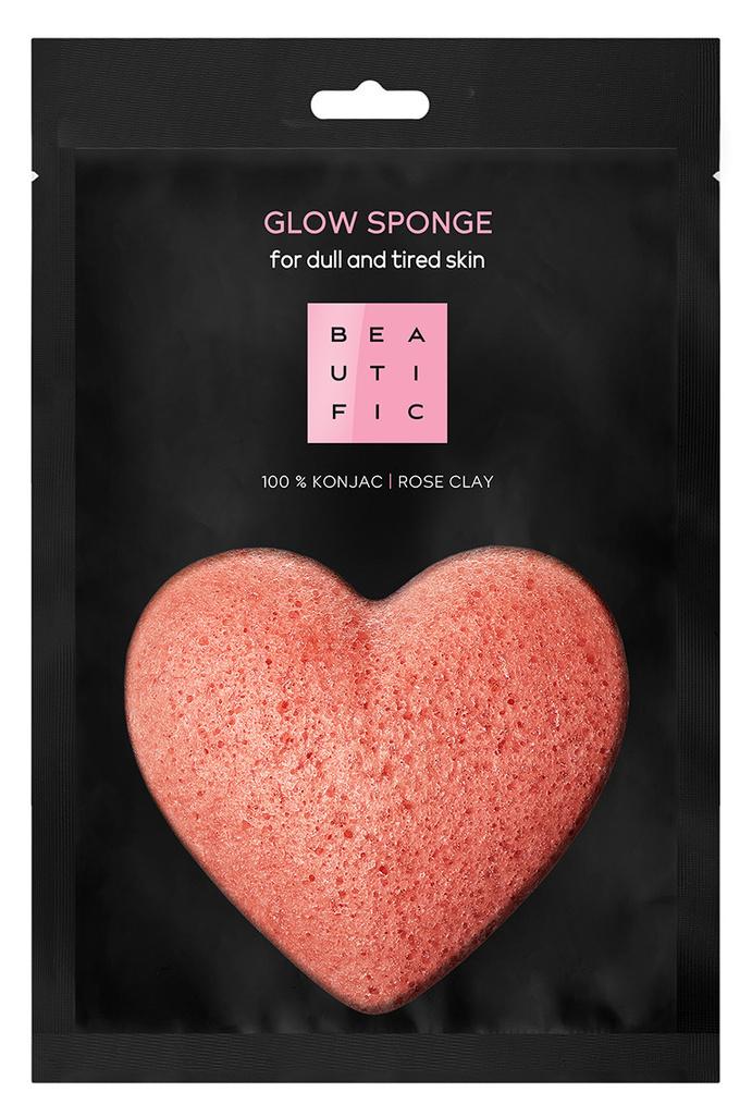 BEAUTIFIC Спонж конняку органический с розовой глиной для сияния кожи / GLOW SPONGE 1 шт