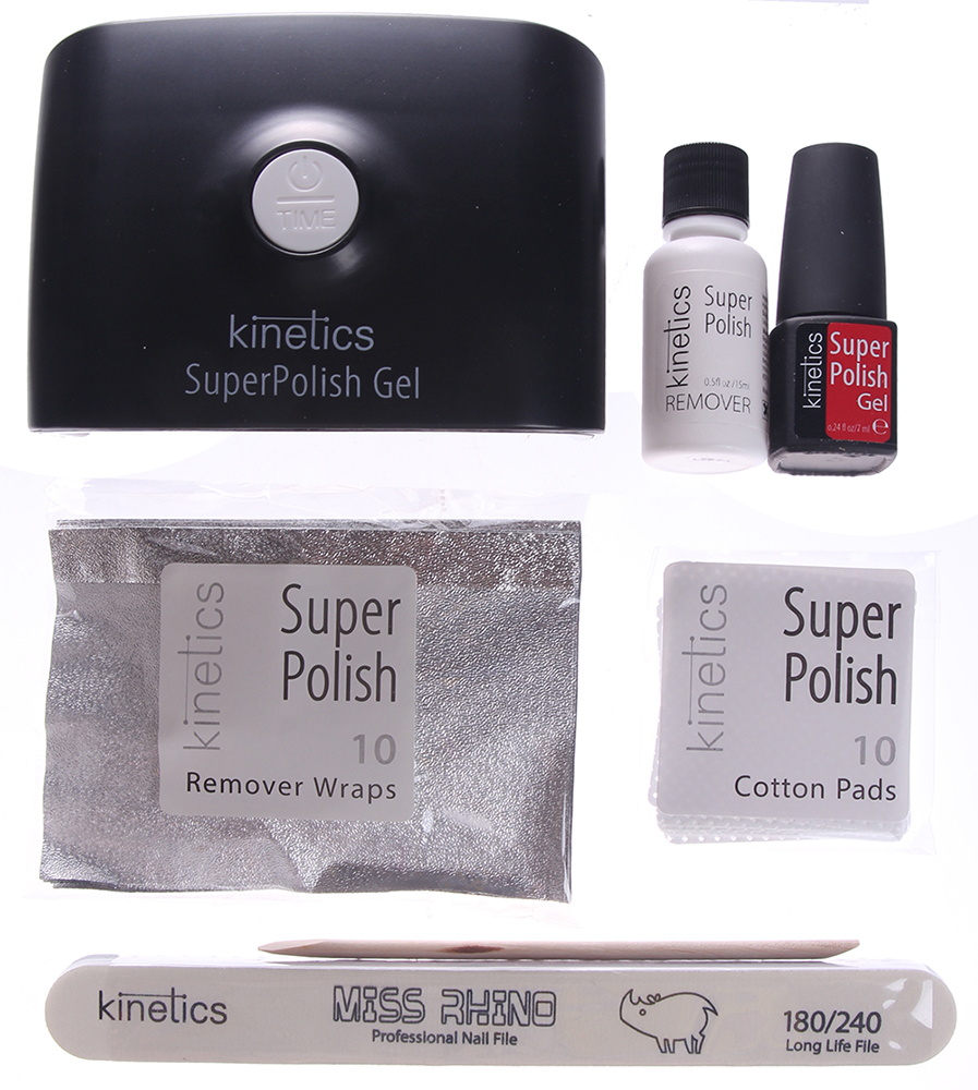 KINETICS Набор с однофазным гель-лаком SuperPolish и профессиональной Led-лампой с таймером (5,5W) / Super Polish Kit -  Наборы