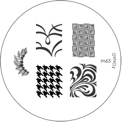 KONAD Форма печатная (диск с рисунками) / image plate M63 10грСтемпинг<br>Диск для стемпинга Конад М63 с оригинальными абстракциями. Несколько видов изображений, с помощью которых вы сможете создать великолепные рисунки на ногтях, которые очень сложно создать вручную. Активные ингредиенты: сталь. Способ применения: нанесите специальный лак&amp;nbsp;на рисунок, снимите излишки скрайпером, перенесите рисунок сначала на штампик, а затем на ноготь и Ваш дизайн готов! Не переставайте удивлять себя и близких красотой и оригинальностью своего маникюра!<br>