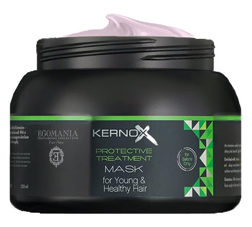 EGOMANIA Маска для молодых и здоровых волос / Kernox Eco Lamination 500 млМаски<br>Маска предназначена для интенсивной защиты волос от негативных внешних факторов, разглаживания и придания блеска сухим, пористым волосам. Служит основным источником белков, масел и экстрактов трав. Действие маски может быть значительно усилено специальным коктейлем линии интенсивной защиты волос от негативных внешних факторов, разглаживания и придания блеска сухим, пористым волосам. Активные ингредиенты: сок листьев алоэ, экстракт цветков римской ромашки, экстракт женьшеня, экстракт розмарина, масло оливы, масло виноградных косточек, масло цветков календулы, масло ши, масло жожоба, масло семян огуречника лекарственного (бурачника), масло аргана, протеины пшеницы, экстракт листьев камелии, минеральное масло. Способ применения: нанесите маску на чистые, отжатые полотенцем волосы, равномерно распределяя пальцами от корней до концов волос. Время выдержки 10 минут. Тщательно смойте маску с волос теплой водой. Для более интенсивного восстановления поврежденных волос добавьте в маску коктейль для молодых и здоровых волос в пропорции 50 грамм маски и 2,5 грамма (1 саше) коктейля. При возникновении раздражения кожи прекратите использование. Избегайте попадания в глаза.<br>
