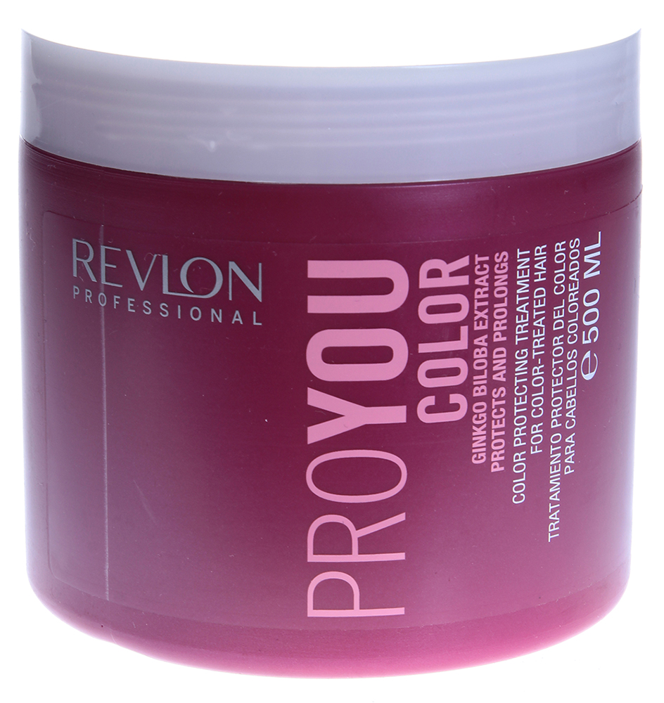REVLON Маска для сохранения цвета окрашенных волос / PROYOU COLOR 500млМаски<br>Маска Proyou Color &amp;ndash; это восстанавливающее средство с натуральными экстрактами гинкго билоба и солнечными фильтрами, помогающее сохранить цвет окрашенных волос. Профессиональная маска обеспечит специальный уход окрашенным волосам для поддержания их мягкости и интенсивности цвета. Благодаря своему интенсивному воздействию, это восстанавливающее волосы и кутикулу средство, защищает от неблагоприятного воздействия солнца, продлевая блеск и жизненную силу волос.  Активные ингредиенты: Экстракт гинкго билоба, UVA/UVB фильтры, восстанавливающие ингридиенты.  Способ применения: Вымойте голову шампунем Revlon и подсушите волосы полотенцем. Затем нанесите небольшое количество маски на влажные волосы. Расчешите волосы по всей длине и оставьте впитаться маску на 5 минут. Намочите волосы небольшим количеством теплой воды, вспеньте, а потом промойте.<br><br>Вид средства для волос: Восстанавливающий<br>Класс косметики: Профессиональная<br>Типы волос: Окрашенные