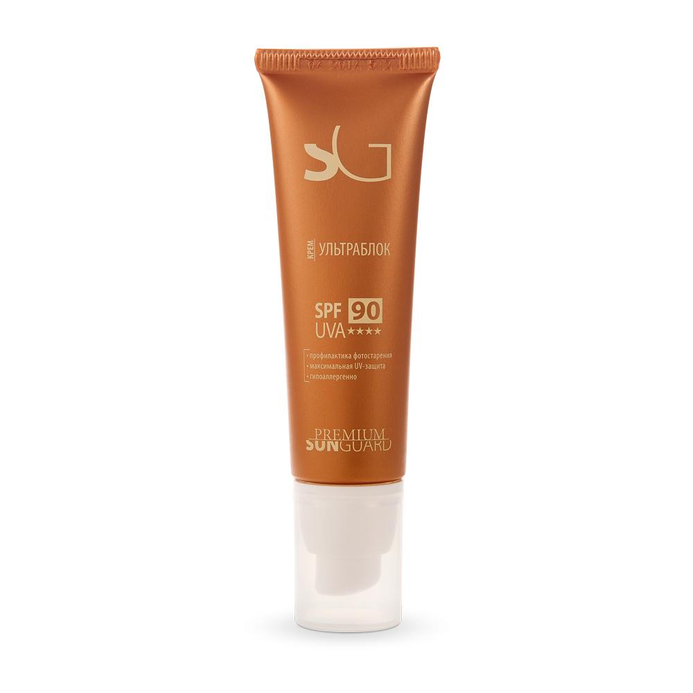 PREMIUM Крем-ультраблок SPF90 / Sunguard 50млКремы<br>Профессиональный препарат с инновационным комплексом фильтров для долговременного гарантированного обеспечения 100% защиты от лучей спектра А и В при любом типе кожи. Рекомендован для кожи, чувствительной к ультрафиолету, при проведении курса антивозрастной и отбеливающей терапии, а также после пластических операций. Содержит высокую концентрацию NMF, сохраняет естественный гидролипидный слой кожи. Активные ингредиенты: UVA и UVB-фильтры, витамины А, Е, масло примулы вечерней, лецитин, экстракт бамбука.&amp;nbsp; Способ применения: при различных кожных заболеваниях, приеме фотосенсибилизирующих лекарств, противопоказаниях к УФ-лучам, при 1-м и частично 2-ом типе кожи с высоким содержанием феомеланина, а также после косметологических процедур. Равномерно нанести крем на лицо за 15 минут до выхода на улицу.<br><br>Вид средства для лица: Антивозрастной