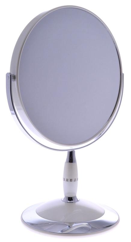 "WEISEN Зеркало настольное круглое 2х стороннее 18 см с кристалами / B7""808 PER/C WPearl"